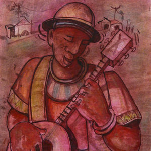 A Banjo Player in pink