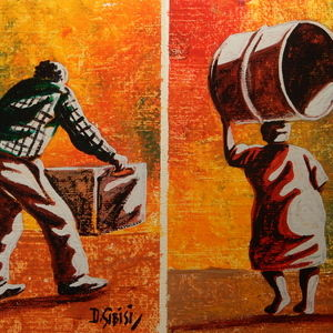 Hard work (2 minis 19.3 x 25) (new painting)